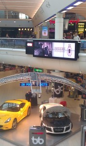 Second of two 8 screen digital walls installed at Gatwick Airport